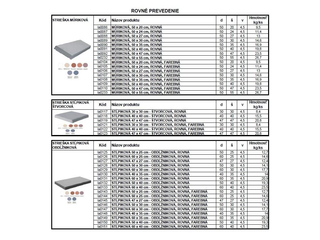 BETÓNOVÁ STRIEŠKA STĹPIKOVÁ 30 x 30 cm - ŠTVORCOVÁ, ROVNÁ, FAREBNÁ
