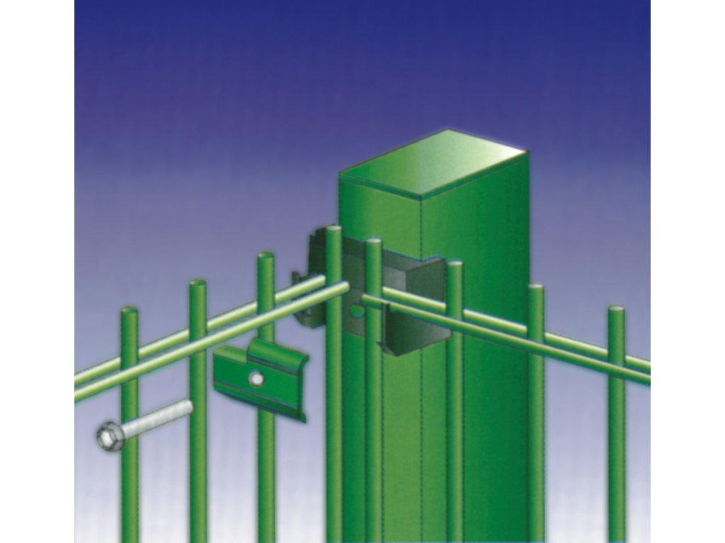 ROHOVÝ STĹPIK - ZACHYTÁVAČ LÔPT BEKASPORT PRE PANELY 3D / F / 2D - ZELENÝ, 3200 / 80 x 60 / 2.5 mm