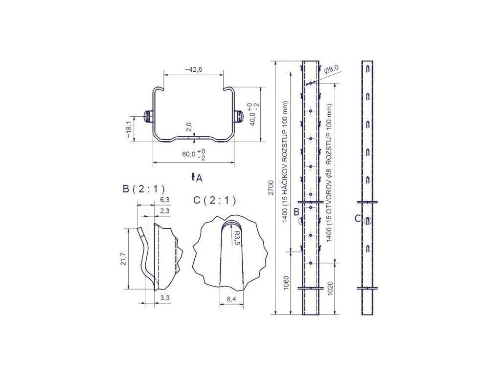 HRON - 60/40/2,0 - 2700mm, standardní háček