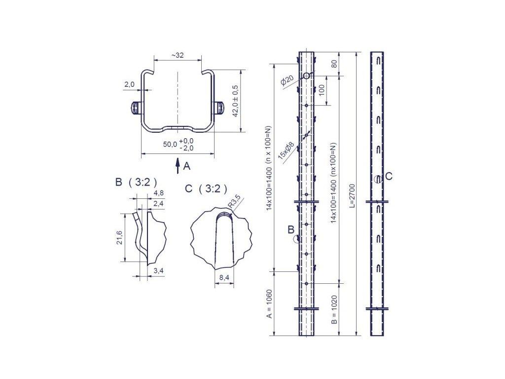 KLEVNER - 50/42/2,0 - 2700mm, standardní háček