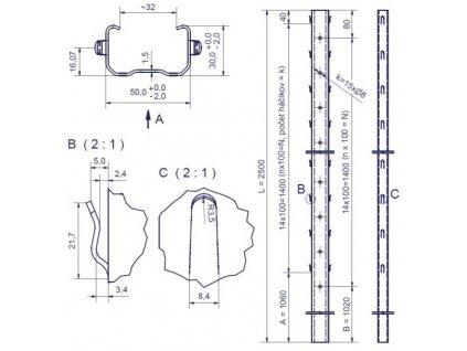 DEVÍN - 50/30/1,50 - 2500mm, standardní háček