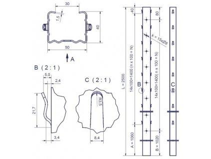 ZOBOR - 50/40/1,50 - 2500mm, standardní háček