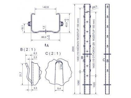 DUNAJ - 60/40/1,50 - 2500mm, standardní háček