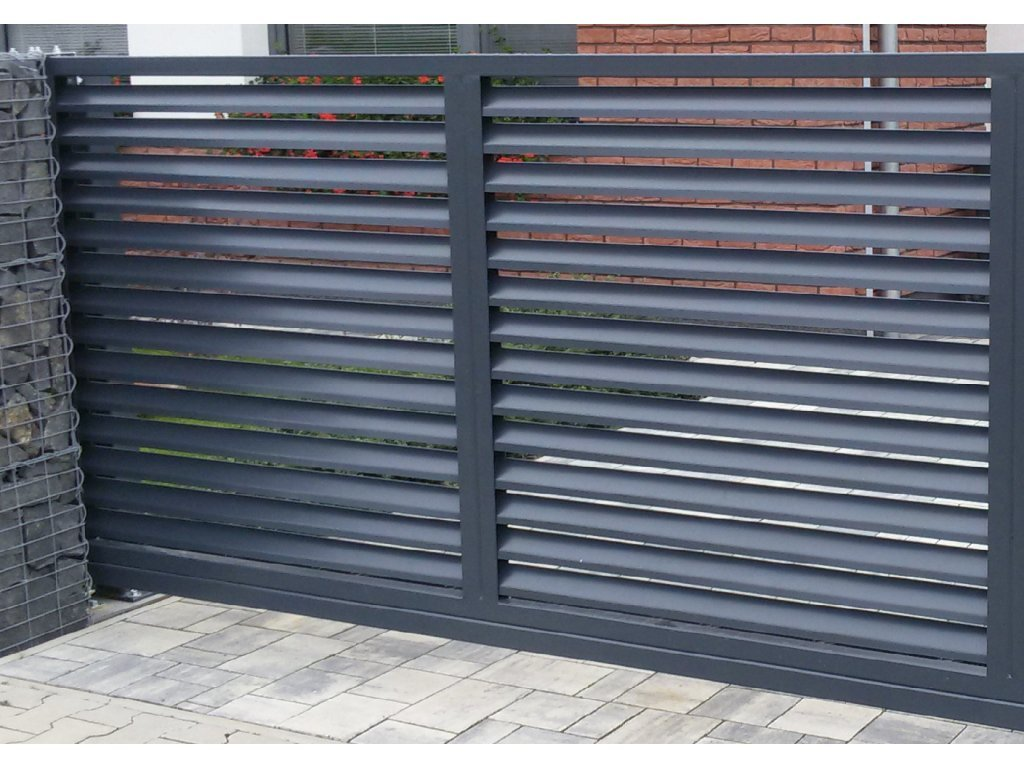 Dvoukřídlá brána s lamelovou výplní s přípravou na pohon (Barva rámu zinek+šedá antracit, Barva výplně zinek+šedá antracit, Velikost 4000x1800mm)