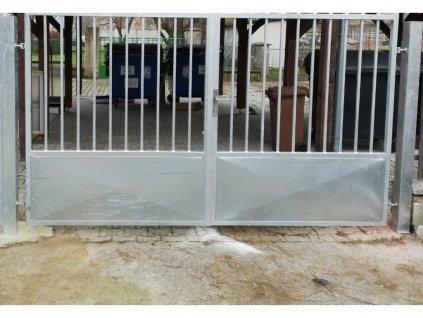 Dvoukřídlá brána s výplní ocel/plech bez přípravy na pohon (Barva rámu komaxit hnědá, Velikost 4000x1800mm)