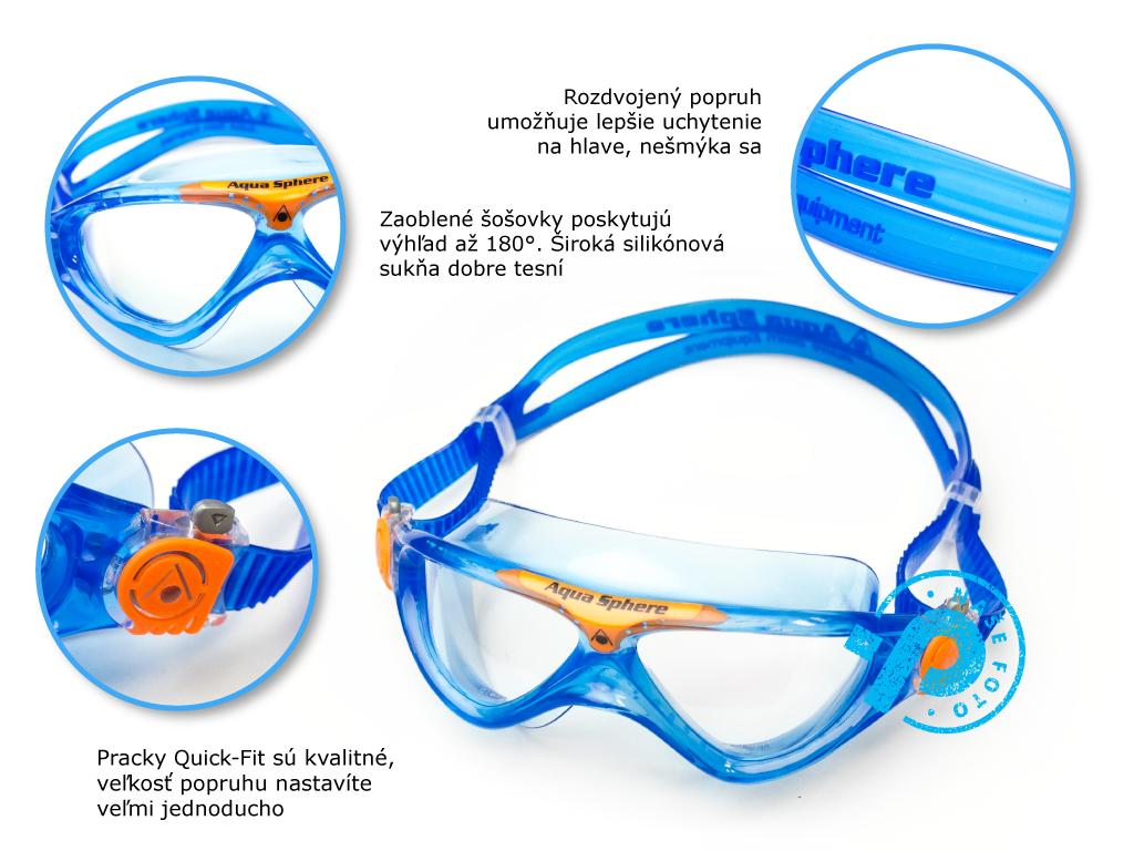 Aquasphere Vista detská maska na plávanie, výhody, skúsenosti, recenzie na Plutvy.sk