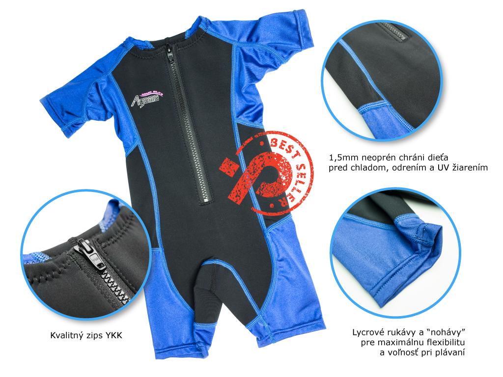 detský neoprén na plávanie, chráni pred chladom, UV žiarením s lycrovými rukávmi pre väčšiu voľnosť