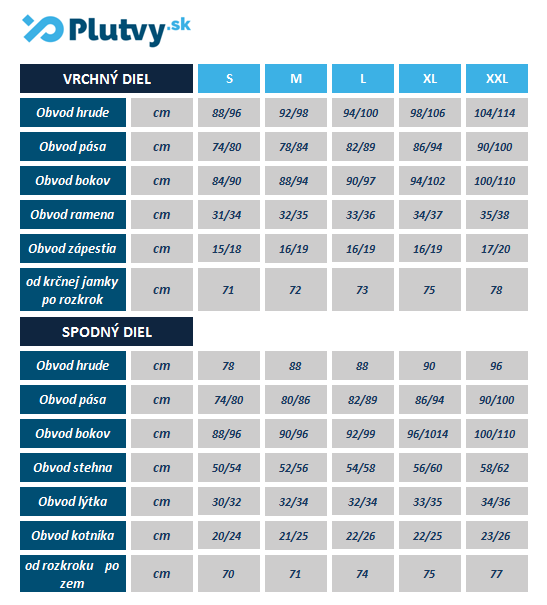 tabuľka veľkosti, rozmery freedivingového obleku agama pearl - plutvy.sk