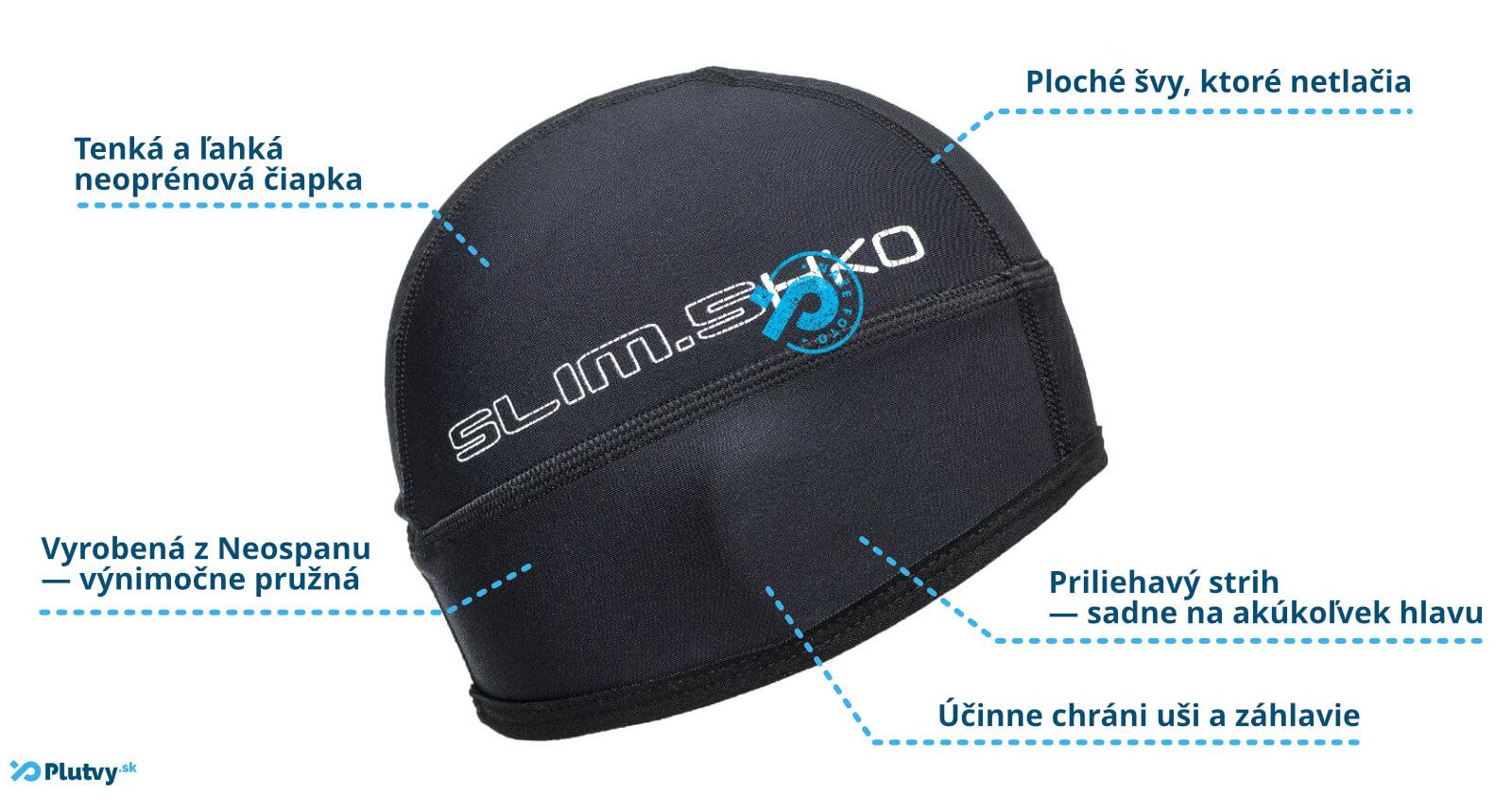 Elastická čiapka vhondá na použitie pri vodných športoch, v chladnej vode, Hiko Slim 0.5mm, Plutvy.sk