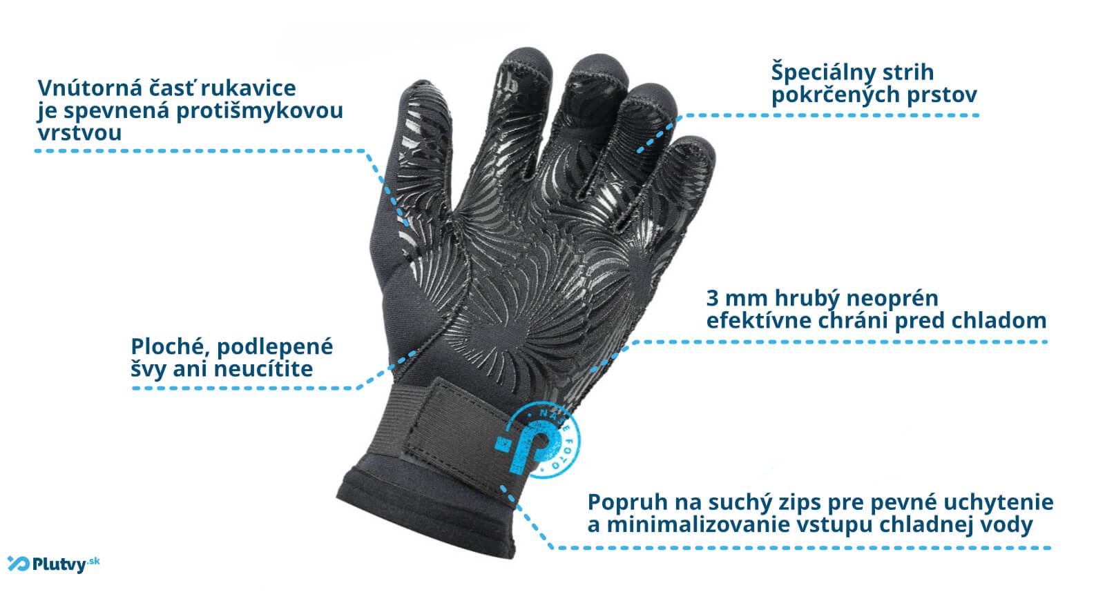 špeciálne neoprénové rukavice hiko grip 3mm, pre vodákov, športovcov, jazdu na skútri, v Plutvy.sk v Bratislave