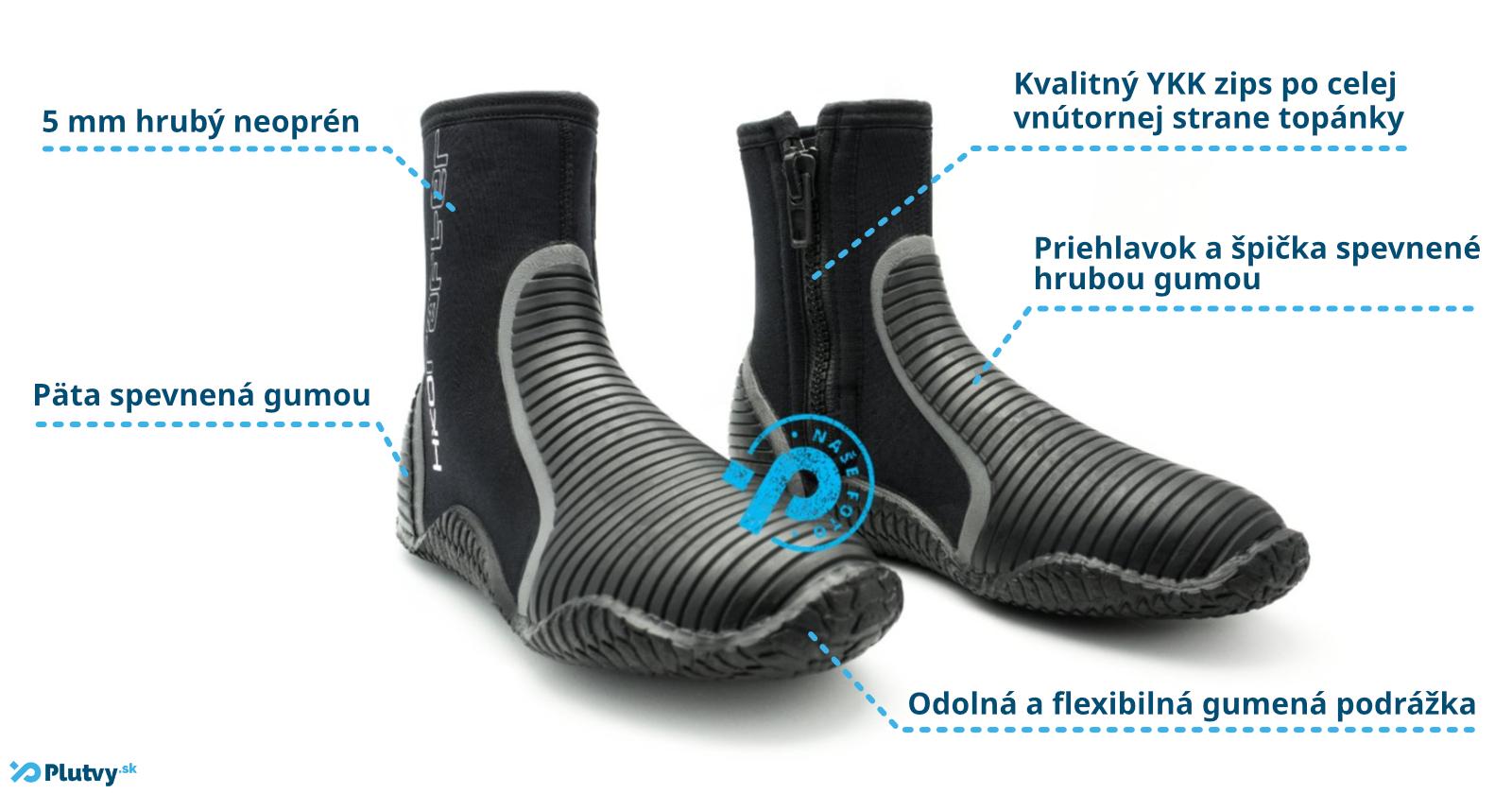 Vysoké pevné neoprénové topánky do studenej vody, Hiko Rafter 5mm v obchode Plutvy.sk