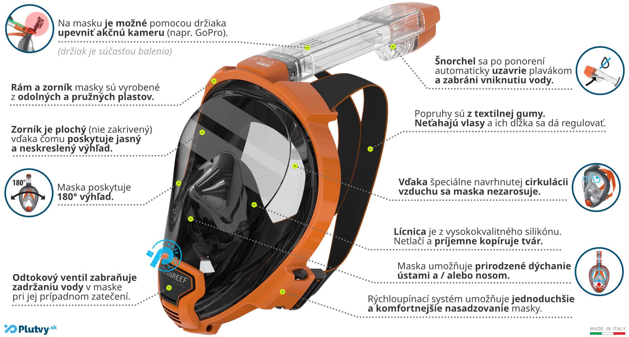 špičková maska na celotvárová šnorchlovanie ocean reef aria qr+ s rýchloupínacím systémom, Plutvy.sk
