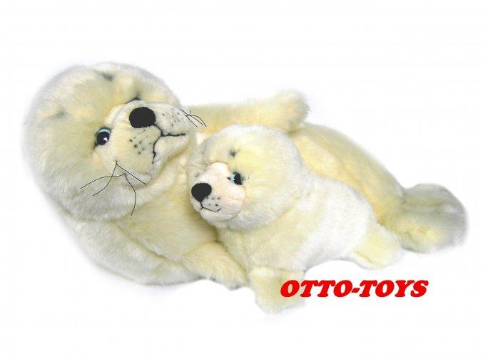 Velký plyšový tuleň s mládětem