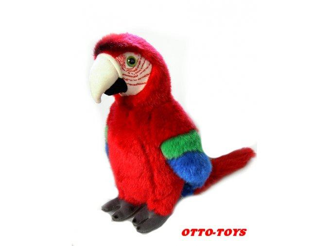 velký červený plyšový papoušek
