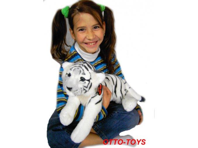 Plyšák tygr ležící bílý