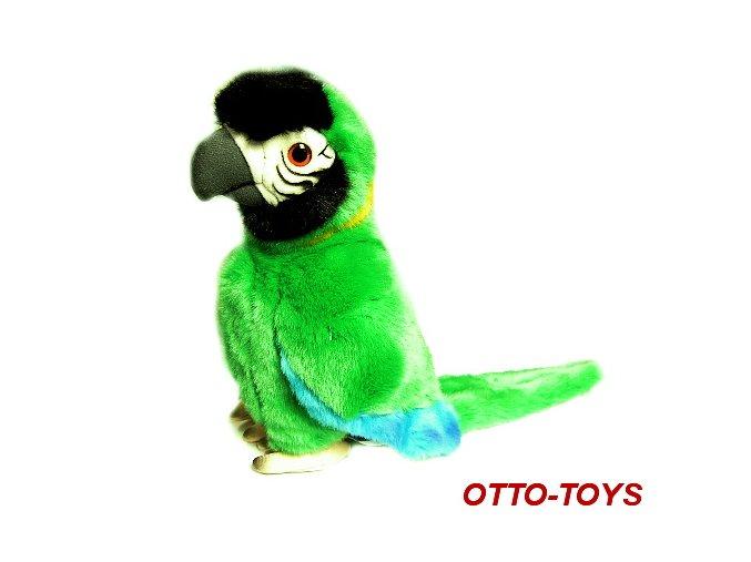 Zelený plyšový papoušek