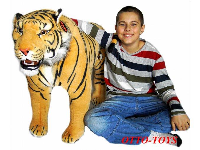 Velký stojící plyšový tygr hnědý