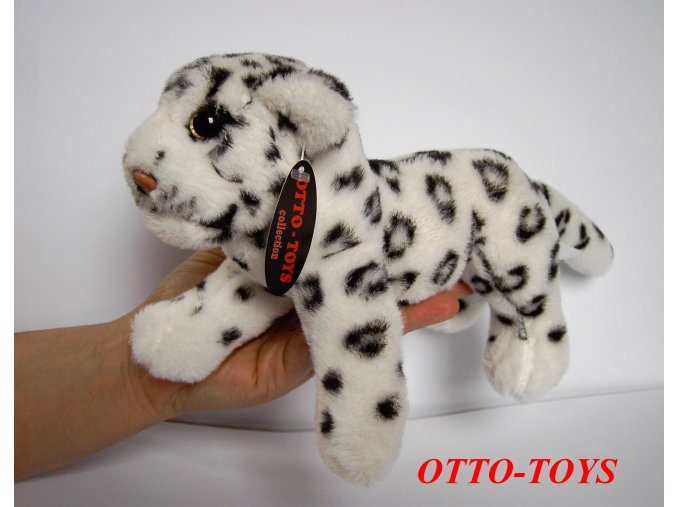 bílý plyšový leopard