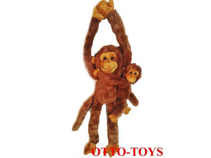 Plyšová opička s miminkem packy zip
