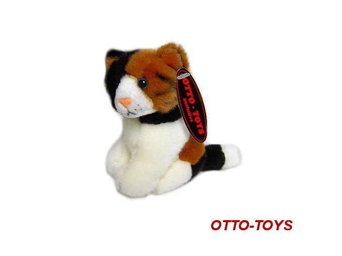 Plyšová kočička tříbarevná 13cm