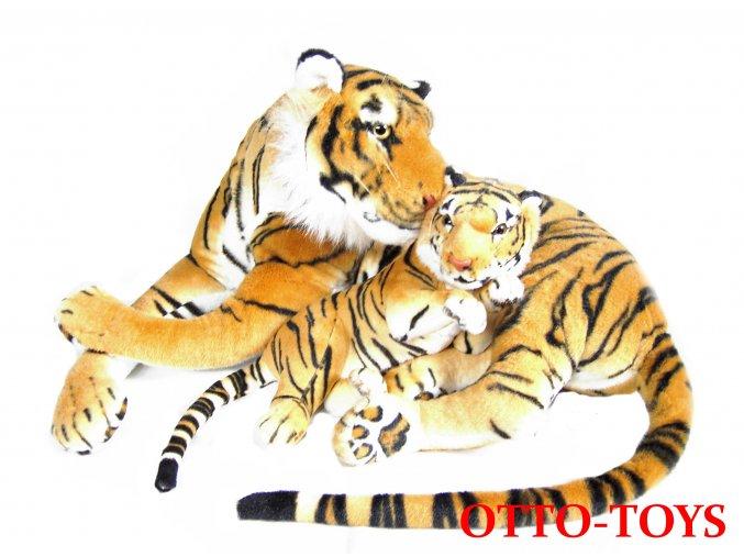 Velký plyšový tygr hnědý s mládětem
