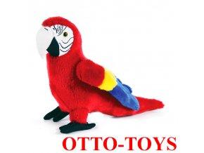 červený plyšový papoušek