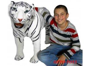 Velký plyšový tygr stojící bílý