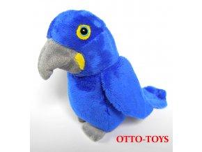 malý modrý plyšový papoušek