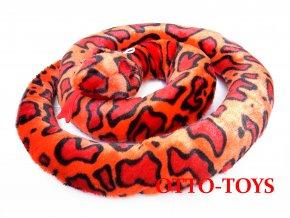plyšový had velký červený