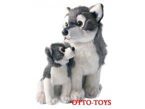 Velký plyšový vlk s mládětem