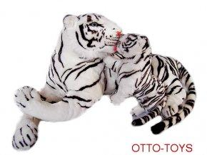 Velký plyšový tygr bílý s mládětem