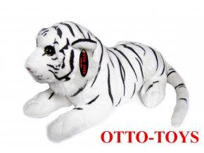 Bílý plyšový tygr ležící