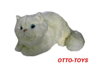 Velká plyšová kočka bílá 30cm