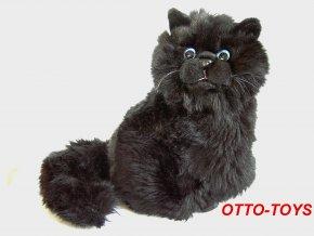 Černá plyšová kočka sedící