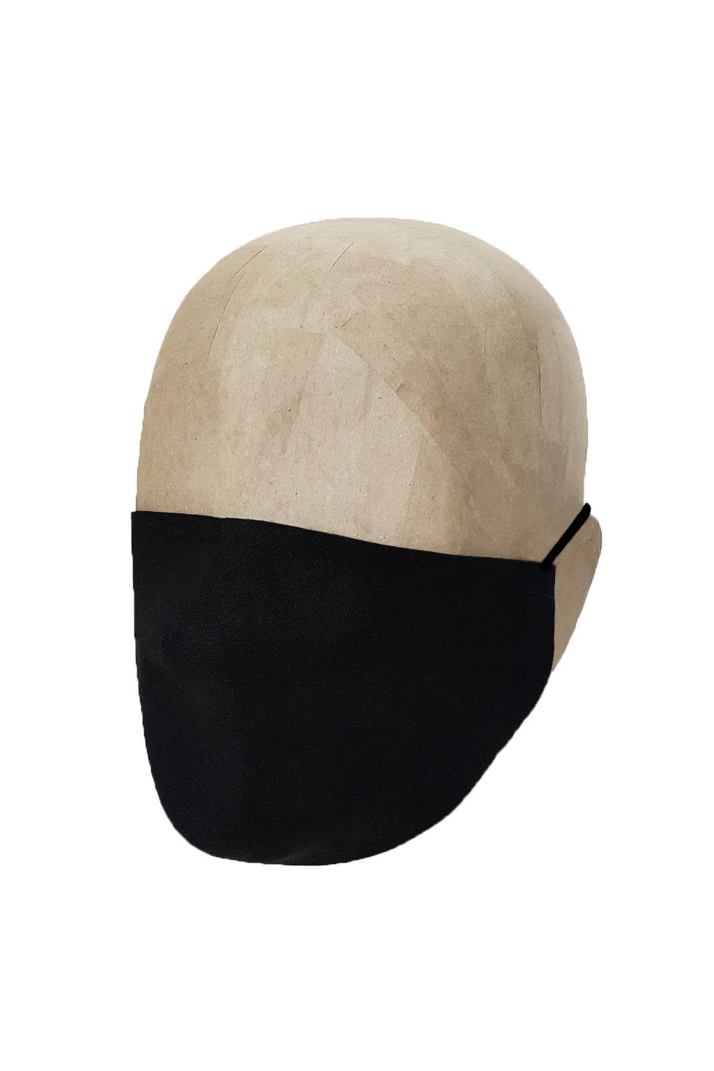 Rúško ČIERNE z bavlneného úpletu s iónmi striebra UNISEX AA