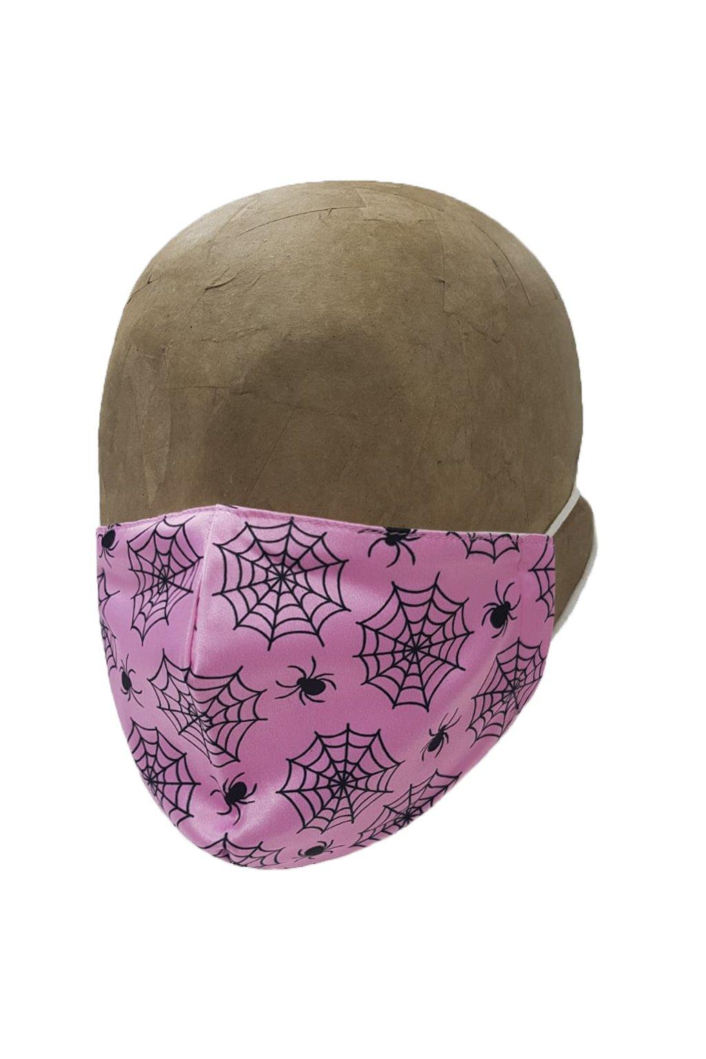 Rúško SPIDER BABY PINK s iómi striebra DETSKÉ A