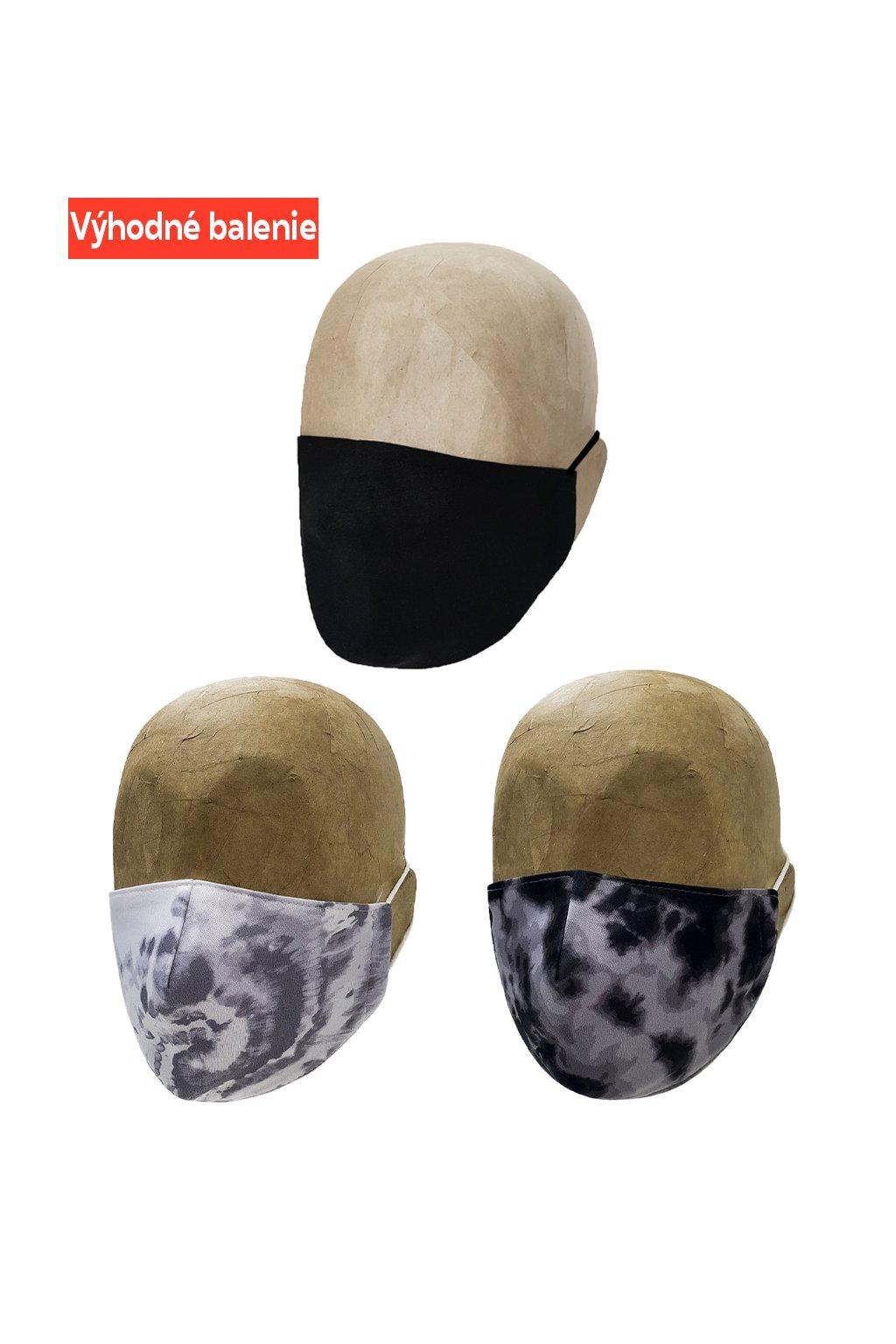 Rúška BLACK AND WHITE 3 PACK UNISEX B