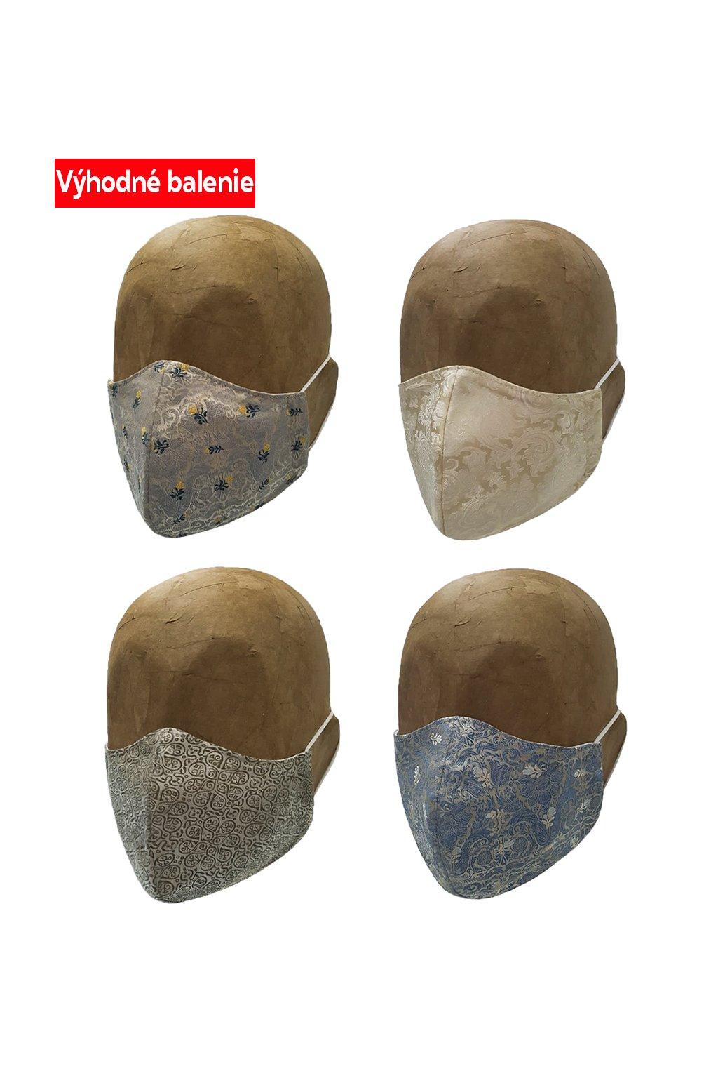 Rúška vyšívané 4 PACK UNISEX A