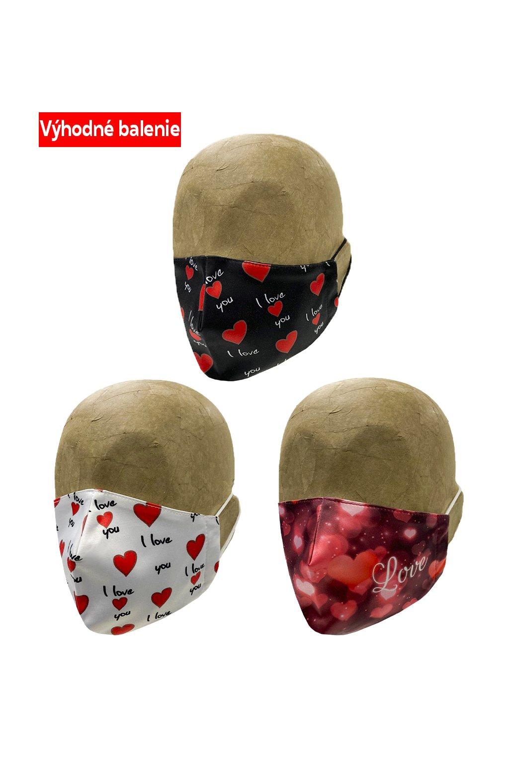 Rúška HEARTS 3 PACK UNISEX A1