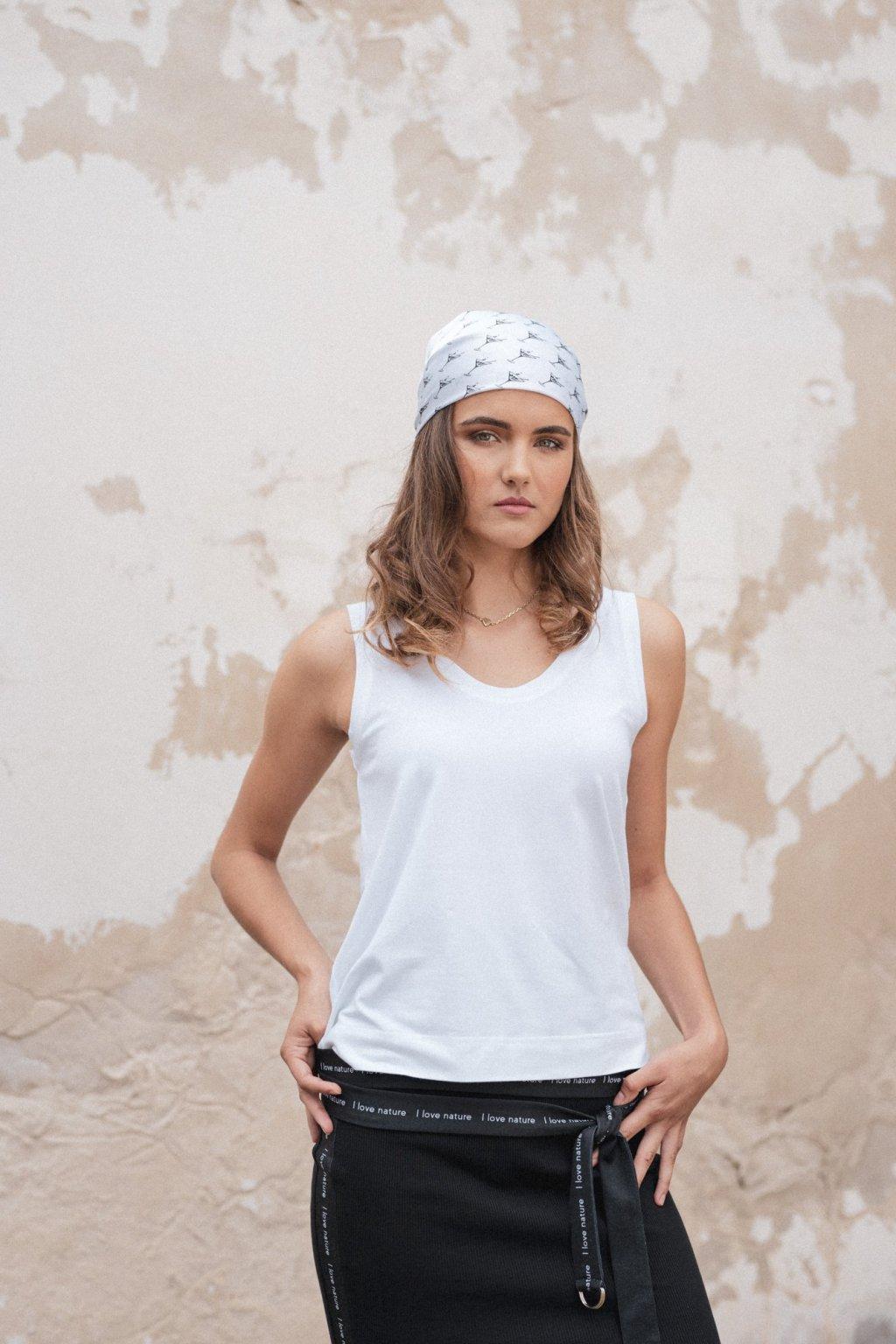 Biele tielko z organickej bavlny BLACK & WHITE COLLECTION