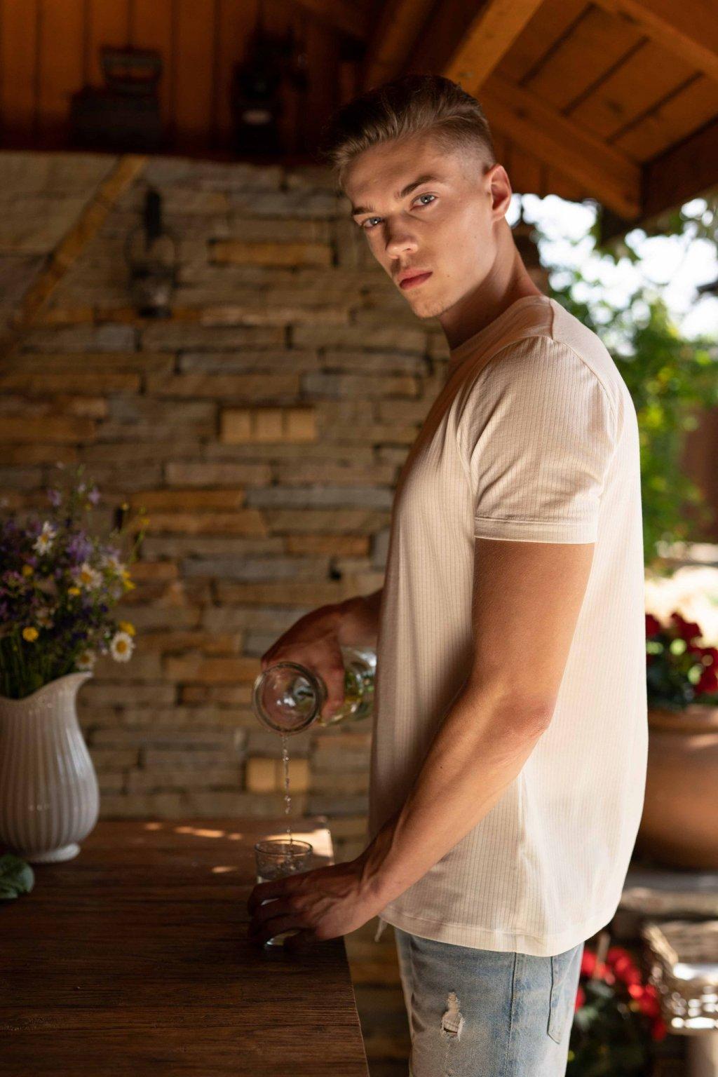 Pánske tričko z organickej bavlny okrúhly výstrih