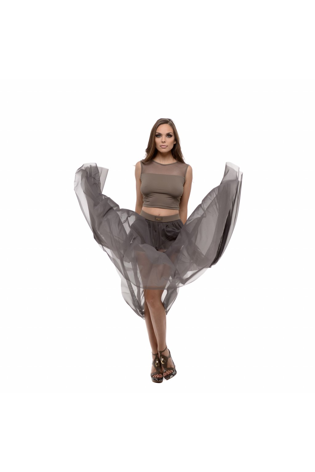 sukňa dlhá so sieťkou hnedá hlavná fotka a