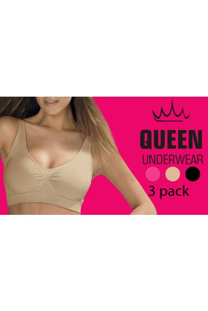 Podprsenka QUEEN SEAMLESS 3C PACK