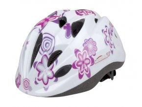 Dětská cyklistická přilba PRO-T Plus Toledo In mold bílá,květy