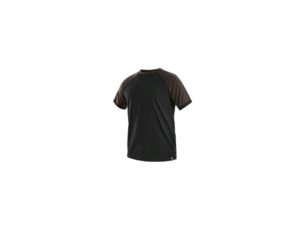 Tričko s krátkým rukávem OLIVER, černo-hnědé