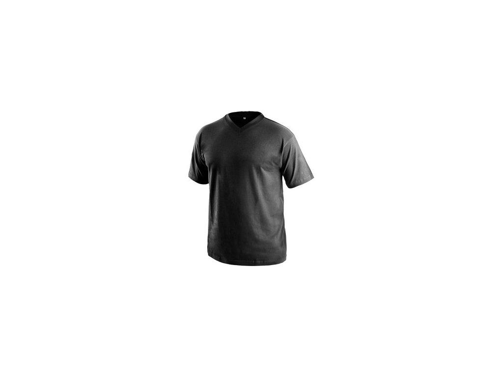 Tričko Dalton, výstřih do V, krátký rukáv, černá