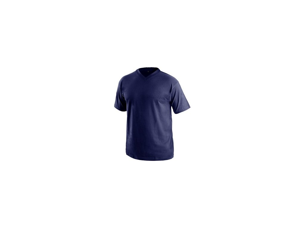 Tričko s krátkým rukávem DALTON, výstřih do V, tmavě modrá
