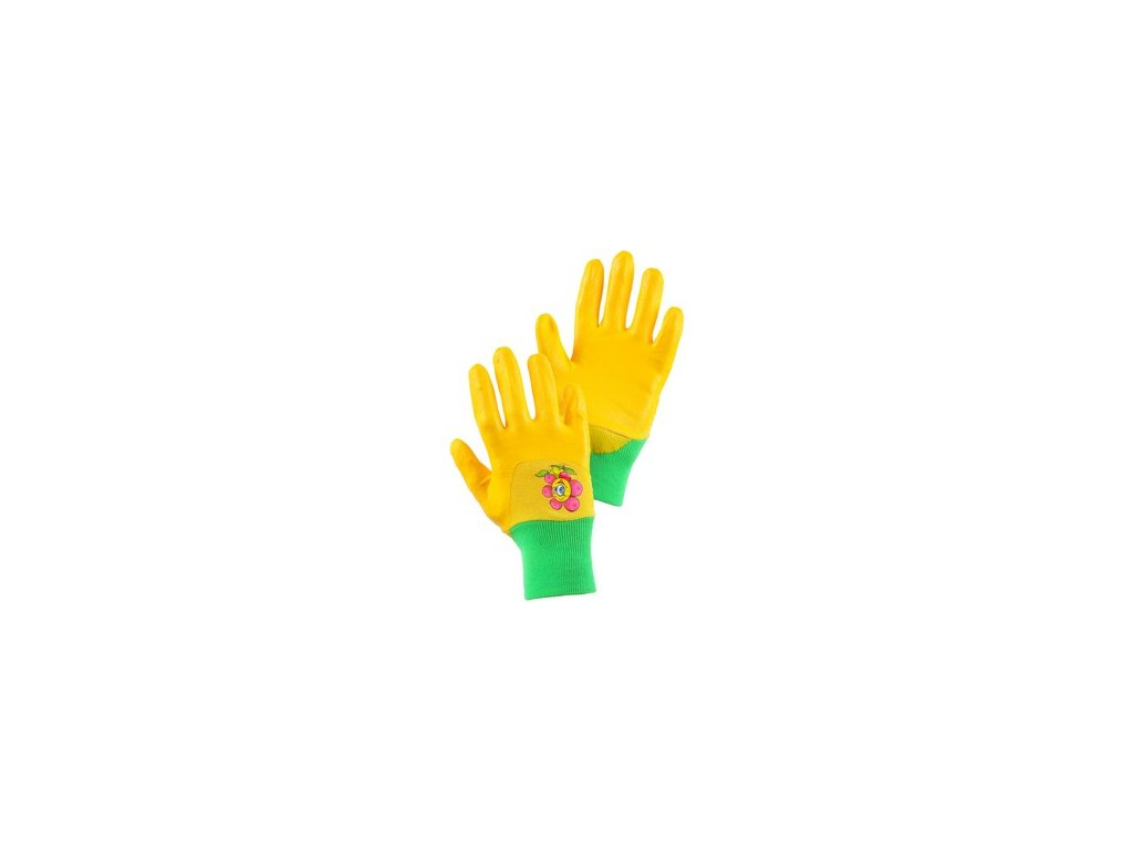 Rukavice DRAGO, dětské, máčené v nitrilu, žluté, vel. 05