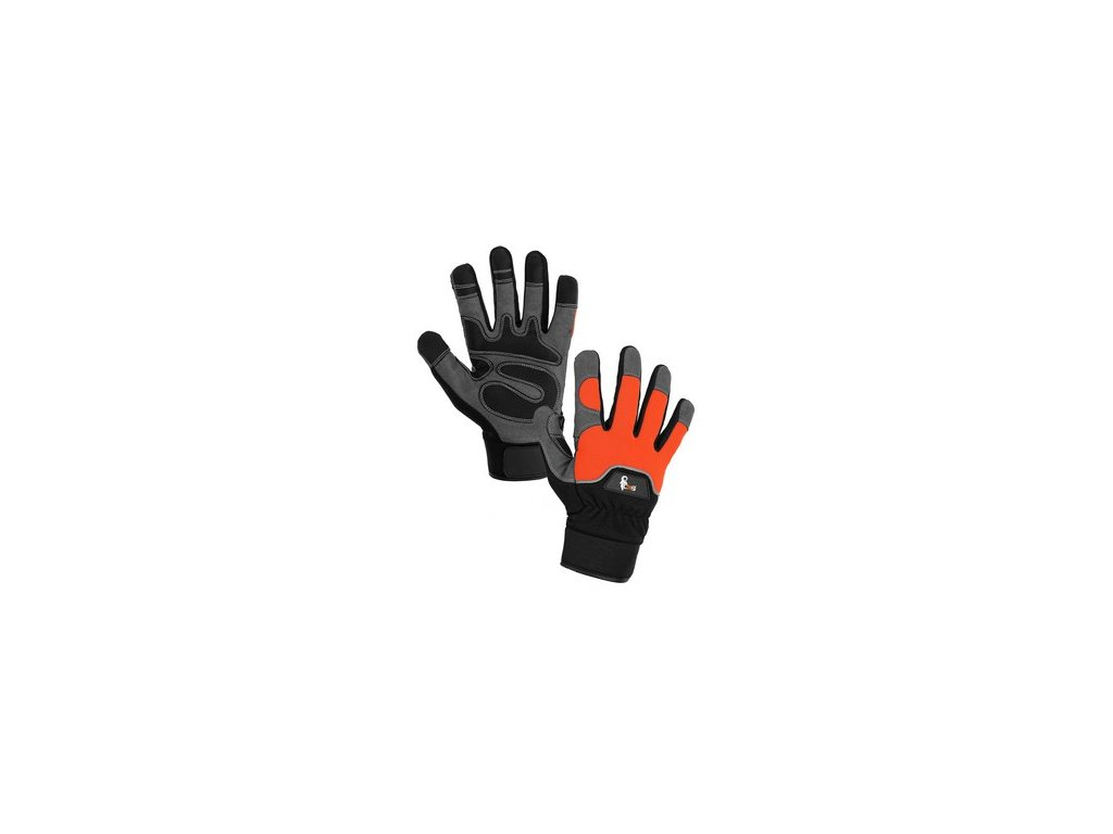 Rukavice PUNO, kombinované, oranžovo-černé