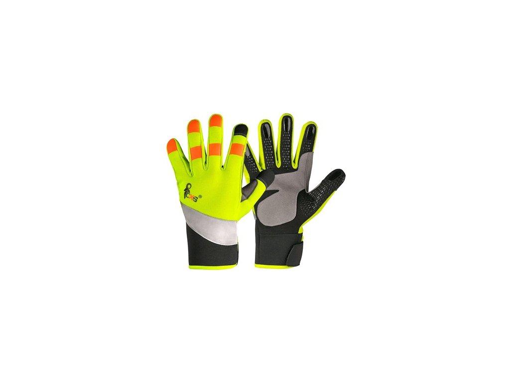 Rukavice CXS BENSON, kombinované, žluto-černé, výstražné doplňky